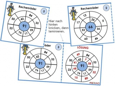 unterrichtsmaterial, Übungsblätter für die grundschule | freiarbeit - rechenräder für die klasse